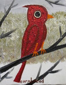 Cornbread, Sparkly Cardinal in the Snow