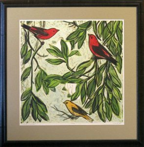 Kent Ambler Signed & numbered woodblock print, 3 birds in a magnolia tree.