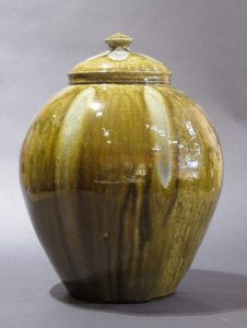 Michel Bayne, Lidded Glass Decorated Vase