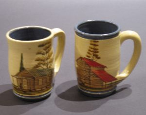 Rosa and Winton Eugene, Red or Green Roofed Cabin Mugs