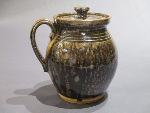 Banded Pitcher With Lid