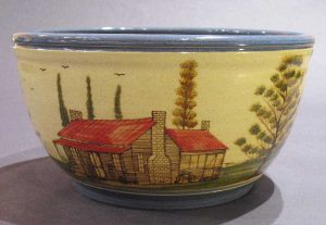 Winton & Rosa Eugene, Large Red Roofed Cabin Bowl