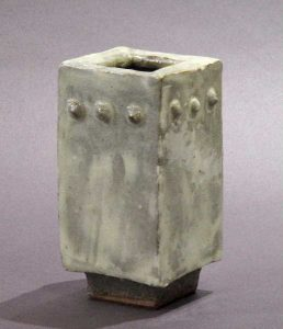 Creamy Footed Square Vase