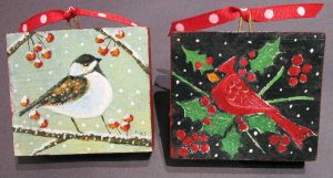 Liz Sullivan, Chickadee's Rest & Cardinal in the Holly