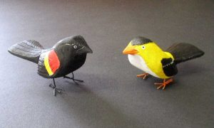 Pint Size Red-Winged Blackbird & Goldfinch
