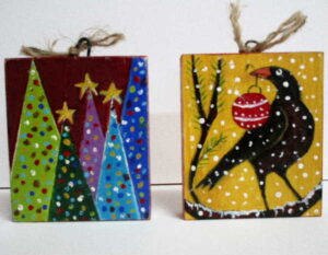 Liz Sullivan, 3 Stars Atop the Trees SOLD, Crow with a Bauble SOLD